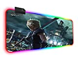 Mouse Pads RGB Mouse Pad Gaming Final Fantasy Anime Girl Led with 14 Lighting Modes and USB Mat for PC, Laptop, Desk 31.49x11.81x0.15 inch