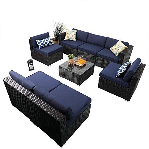 PHI VILLA Outdoor Sectional Sofa- Patio Wicker Furniture Set (8-Piece)