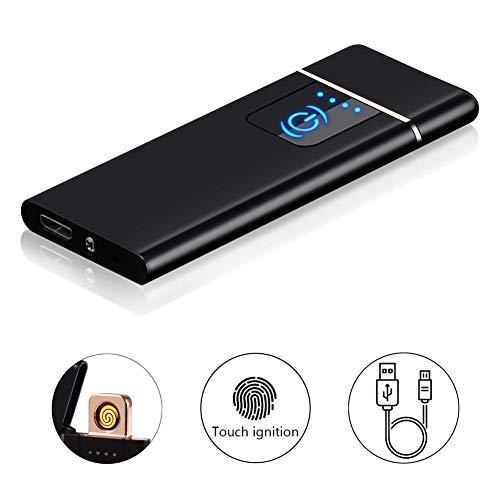 Isqueiro Recarregável Eletrônico USB - Leve Isqueiro para Grill, CHURRASCO, Camping, Casa, Cozinha, Velas e Cigarros (Preto)