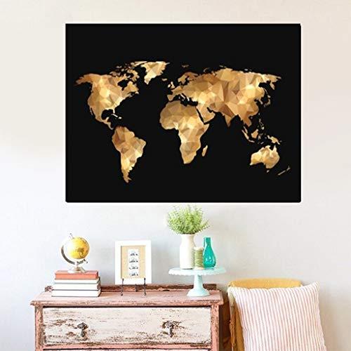 yaofale Puzzle 1000 Piezas Mapa de Oro Negro del Mundo Abstracto Adultos Juguetes Educativos para Niños Jigsaw Puzzle De Regalo Ideal 50x70cm(Sin Marco)