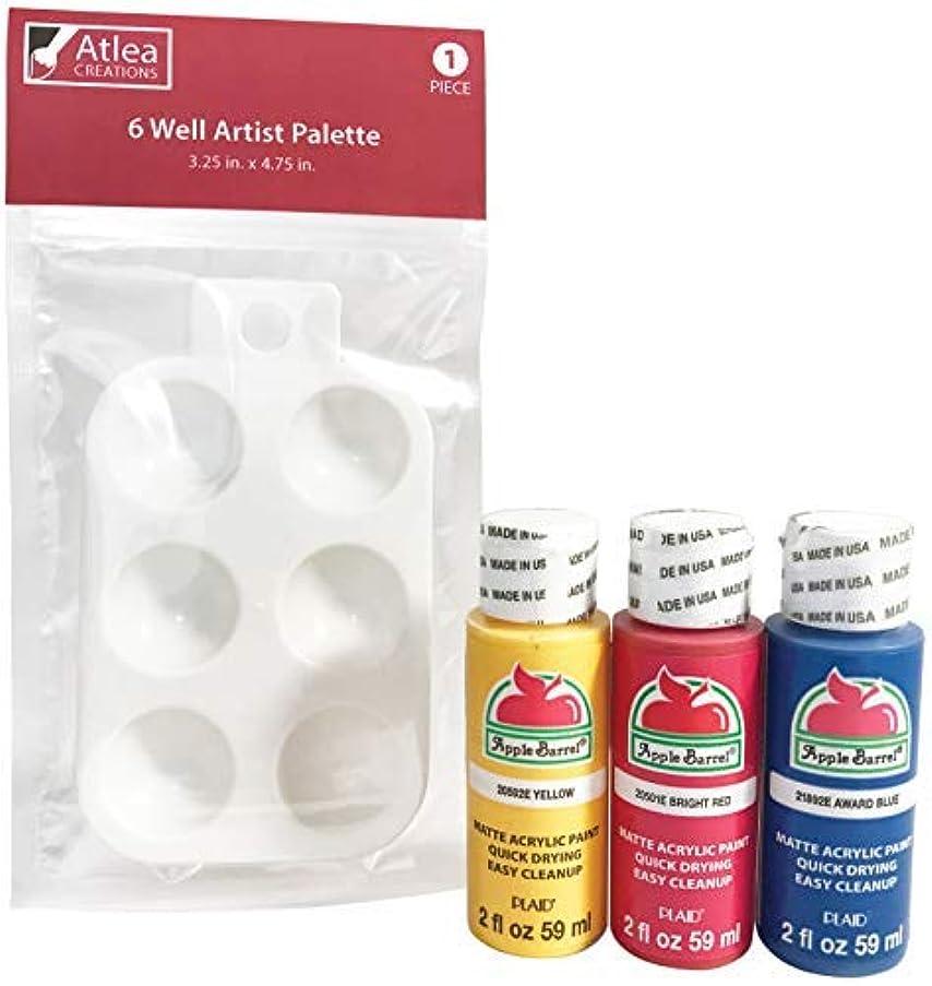 Apple Barrel Acrylic Paint Primary Colors (2 Ounce Bottles) & Artist Paint Palette Set