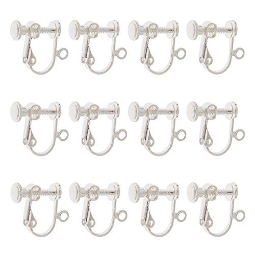 Sharplace 12pcs Pendientes Plateados ALAMBRES Clip de Tornillo ROSCADO para Hacer Joyas