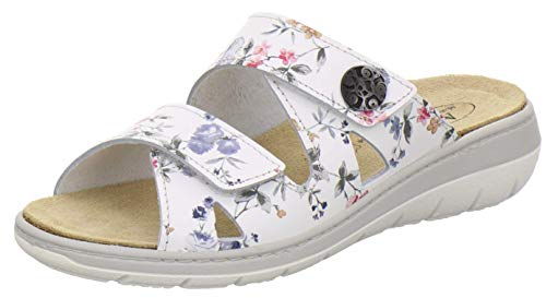 AFS-Schuhe 2808, komfortable Damen-Pantoletten aus Leder, praktische Arbeitsschuhe mit Wechselfußbett, Bequeme Hausschuhe (37 EU, Weiss-Flower)