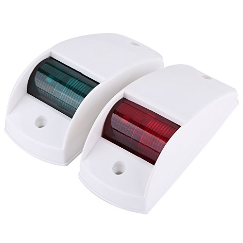 Faros de navegación, un par de bombillas de señalización de navegación rojas y verdes de 12 V para barcos de recreo (carcasa blanca)