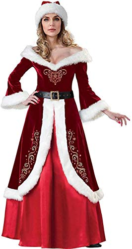 Snsunny Weihnachtskostüm Mrs. Santa Claus Kostüm Weihnachtskleid mit Gürtel und Weihnachtsmütze Christmas Party Weihnachtsfeier Cosplay (XXX-Large, Rot)