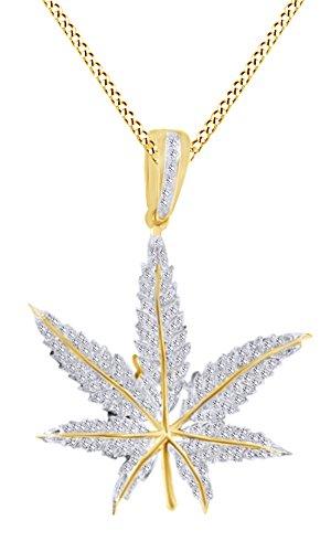 Collana con ciondolo a forma di foglia di marijuana, in oro massiccio 10 K (0,38 cttw), con diamante naturale bianco (oro massiccio 10 ct) e 10 ct oro giallo, colore: Giallo, cod. UK-M-CMP-HM301703-YG
