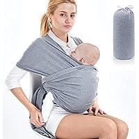 SaponinTree Fular Portabebés Elástico Gris Portador de Bebé, Pañuelo de 100% de Algodón, Porteo Seguro y Ergonómico Durante la Lactancia, Para Padres Unisex (Gris claro)