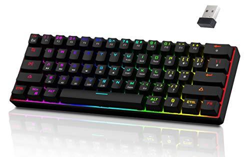 AQCTIM Mechanische Gaming Tastatur, Dynamische RGB-Hintergrundbeleuchtung,(Tri-Mode)Wired Type-C/Wireless 2.4G/Bluetooth 5.0/Gaming/Office, für /iOS/Android/Mac/PC, wiederaufladbarer Akku 3000mAh
