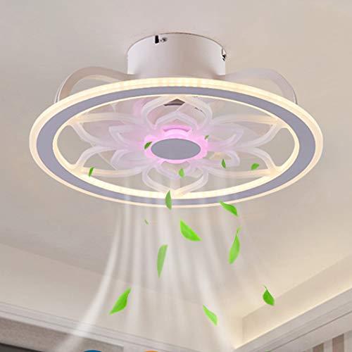 Ventiladores de Techo con Iluminación 57W, Moderno Ventilador Invisible Luz de Techo LED Velocidad del Viento Ajustable con Modo de luz Nocturna Silenciosa Lámpara de Ventilador de Dormitorio (C)