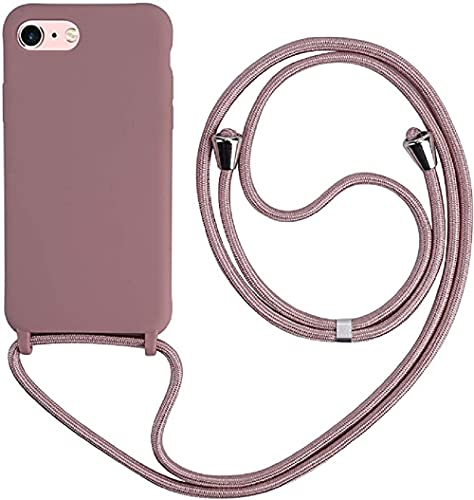 Ququcheng Kompatibel mit iPhone 7 Plus/8 Plus(5.5) Hülle,Handykette Hülle Silikon Seil Necklace Handyhülle mit Kordel Tasche TPU Stoßfest Schutzhülle für iPhone 7 Plus/8 Plus(5.5)-Rosa Gold