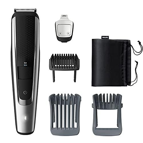 Philips Beard & Stubble Trimmer/Hair Clipper for Men, Series 5000, 40 Length Settings, 120 Min. Runtime, Self-Sharpening Metal Blades, UK 3-Pin Plug, BT5522/13, Silver