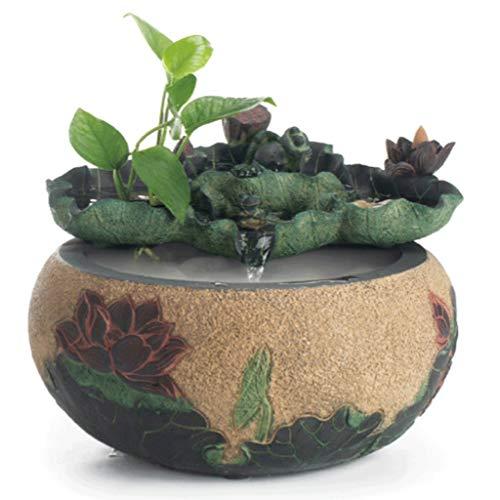 Decoración del hogar Fuente de agua fluida de Lotus Fountain Fuente de la mesa de la mesa - Característica de agua relajante del escritorio del zen interior - interior del spa y la decoración de yoga