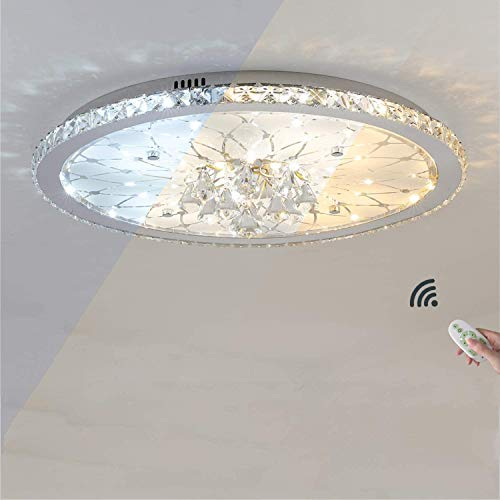 Moderno LED Lámpara de techo Regulable con mando a distancia Luces de techo Mosaico Cristal Redondo Dormitorio Salón Plafones detecho Espacio de trabajo Lámpara deco Luz calida Luz blanca,Ø43cm 25w