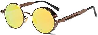 ZEVONDA Men/Women Retro Sunglasses - Steampunk Style UV400 Small Round Sunglasses Polarized Lens Classic Metal Frame Eyewear