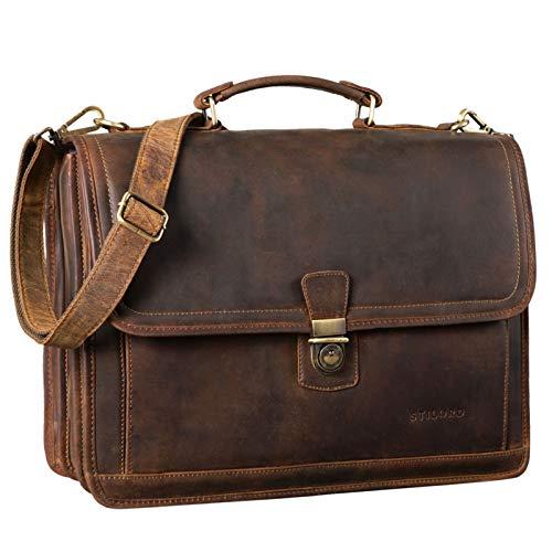 STILORD 'Thaddäus' Maletín Vintage Bolso de Cuero Grande para Hombre Bolso de Negocios Clásico Bolsa Bandolera para Portátil de Piel, Color:marrón - Medio