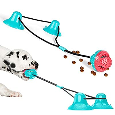 Double Suction Cup Dog Toy, Pet Molar Bite Toy, Dog Chew Toys, Interactive Pet Treat Ball for Chewers and Toothbrush, Dog Multifunction Interactive Ropes Toys