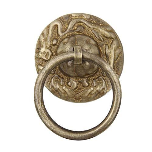 JIEIIFAFH Archaize Bronce del diseño del dragón Aldaba la manija de Puerta clásica Tire platillo Anillo Ruyi Gabinete Ronda (Color : Bronze)