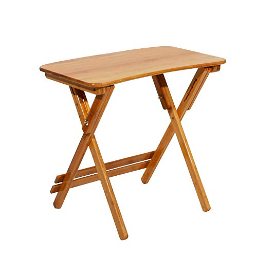 DlandHome Klapptisch aus Bambus, Gartentisch klappbar, Campingtische, 70 * 39 * 62-78 cm Camping Picknick Angelhocker, Natur
