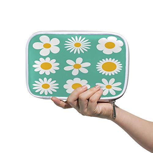 Chehong Federmäppchen mit großer Kapazität, für Schreibwaren, Make-up-Tasche, Kamillen-Set. Weißes Gänseblümchen Kamillensymbol. Reisepasstasche, rund, Blumenmuster, groß