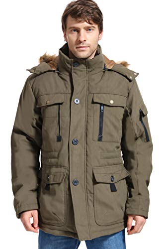 Yozai Mens Winter Parka Insulated Warm Jacket Military Coat Faux Fur with Pockets and Detachable Fur Hood 369 Army Green Large