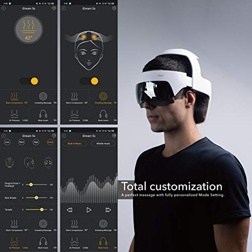 Breo iDream5s Rechargeable Head Massager, Eye Massager 2-in-1 Electric Helmet Massager with Heat, Air Compression, APP Control for Head Stress Relief