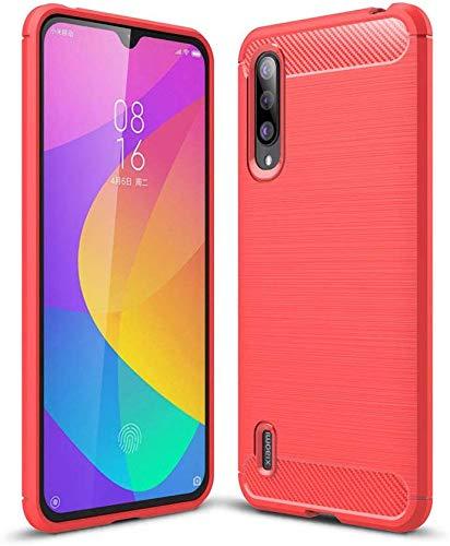 Lapinette Case Compatible with Xiaomi Mi 9 Lite Carbon Fibre – Mi 9 Lite Soft Flexible Protection – Carbon Mi 9 Lite Premium Case Red