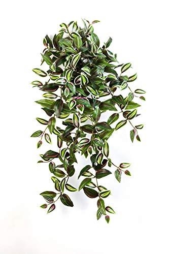 artplants.de Kunst Tradescantia Zebrina Pflanze Pancho mit 260 Blättern, grün-lila, 70cm - Zimmerpflanze künstlich - Deko Hänger