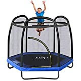 Clevr 7ft Kids Trampoline with Safety Enclosure Net & Spring Pad, Mini Indoor/Outdoor Round Bounce Jumper 84', Built-in Zipper Heavy Duty Steel Frame, Black/Blue
