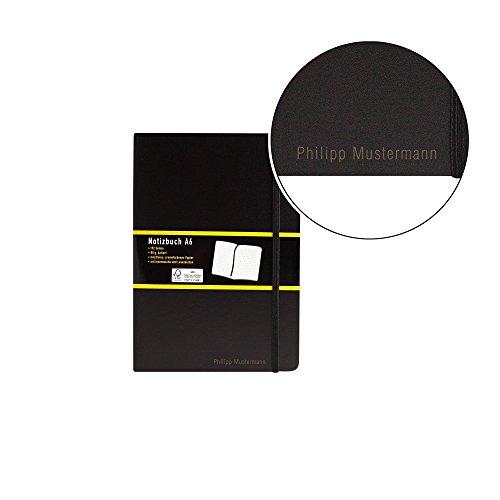Notizbuch kariert - schwarz - A6 - mit Namen/individueller Gravur