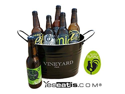 BIRRIFICIO RURALE - BOX REGALO 6 Cervezas artesanales italianos (6x33cl) con enfriador de cubo para el hielo - ROJO