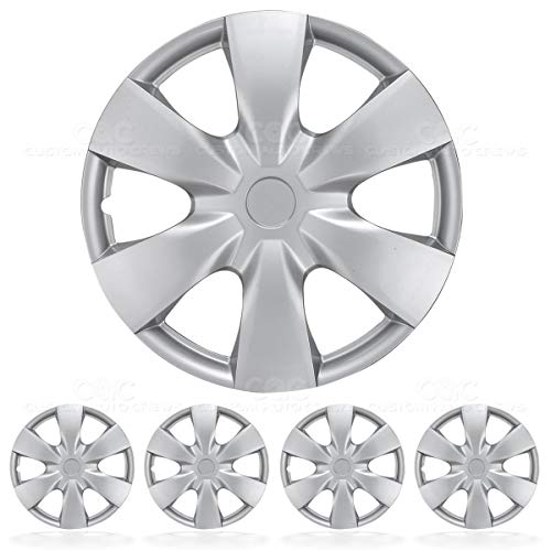 "BDK KT-1008-15 Silver Hubcaps Wheel Covers 15"" – Four (4) Pieces Corrosion-Free & Sturdy – Full Heat & Impact Resistant Grade 15 inch – OEM Replacement"