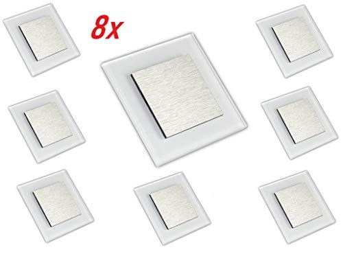 LED Wandeinbauleuchte, Treppenbeleuchtung, Beleuchtung von Treppen, Treppenleuchte, Wandeinbaustrahler, Treppenlicht Wandstrahler 230V 2W IP20 (Warm-weiß, 8 Stück)