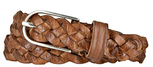 Vanzetti Damen Gürtel Leder geflochten Rindleder Damengürtel 25 mm Ledergürtel schmal (100, Cognac)