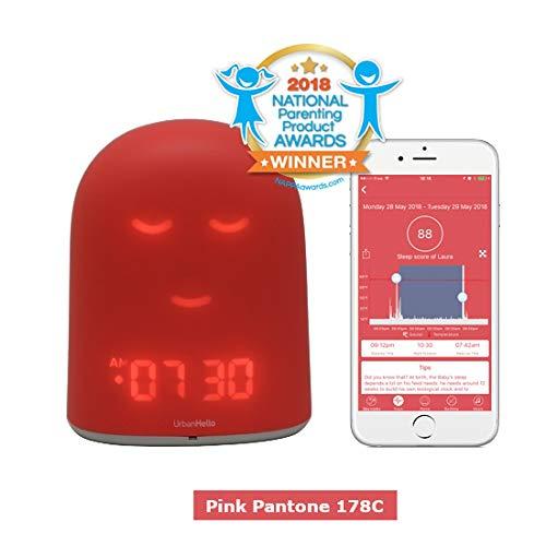 UrbanHello REMI – Babyphone Audio avec alertes de Bruit 5-en-1 - Réveil Enfant Jour Nuit éducatif, Sleep Trainer - Suivi du Sommeil - Veilleuse - Enceinte de Musique - Rose