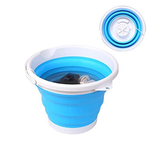 Mini lavadora turbo portátil con bañera plegable, lavadora plegable USB con barril plegable Lavadora plegable para ropa interior portátil para dormitorios de viaje y camping...