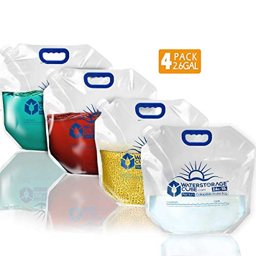 WaterStorageCube Premium Collapsible Water Container Bag, BPA Free Food Grade Clear Plastic Storage Jug for Camping Hiking Backpack Emergency, No-Leak Freezable Foldable Water Bottle 2.6 Gallon 4-Pack