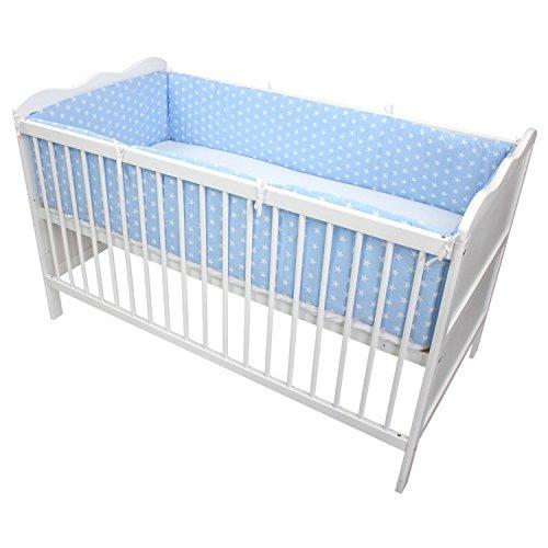 TupTam Babybett Bettumrandung Lang Gemustert, Farbe: Sterne Blau, Größe: 420x30cm (für Babybett 140x70)
