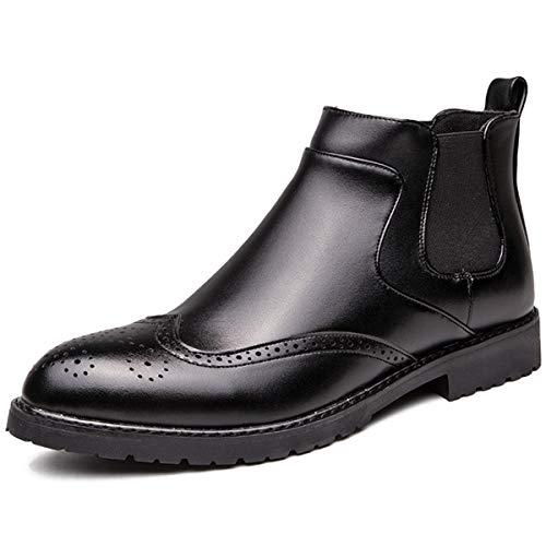 [WEWIN] サイドゴアブーツ メンズ 軽量 レザー 革靴 ビジネスシューズ チェルシーブーツ ショートブーツ ウイングチップ カジュアル 履きやすい 防滑 防水 靴 ファッション イングランド風