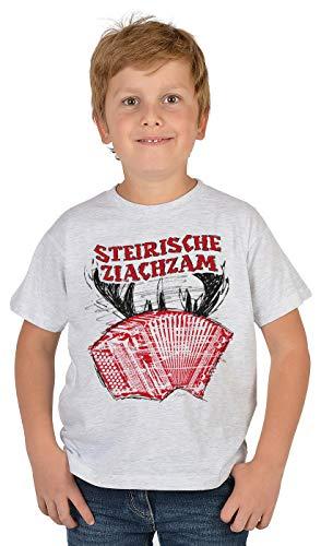 Trachten-Shirt für Jungs Kinder T-Shirt Steirische Ziachzam Motiv Tracht passend zur Lederhose Buben Leiberl