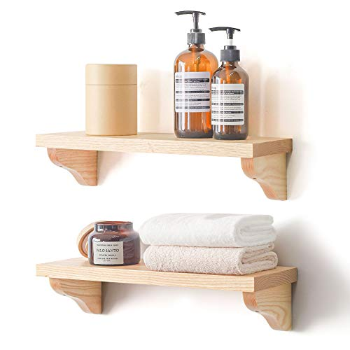eletecpro Floating Shelves for Wall Set of 2,Rustic Wood Wall Storage Shelf with Towel Bar & 16 Hooks for Bathroom,Kitchen and Living Room(Natural Wood)