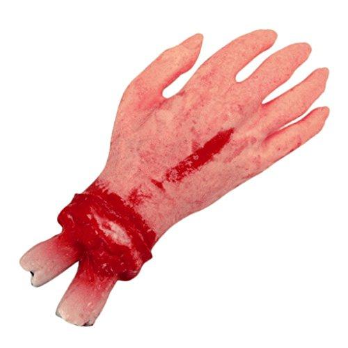 HMILYDYK Props réaliste en Latex Mains Gory Humain Bras Scary Bloody Corps pièces pour fête d'halloween Cosplay Décor Intérieur Extérieur
