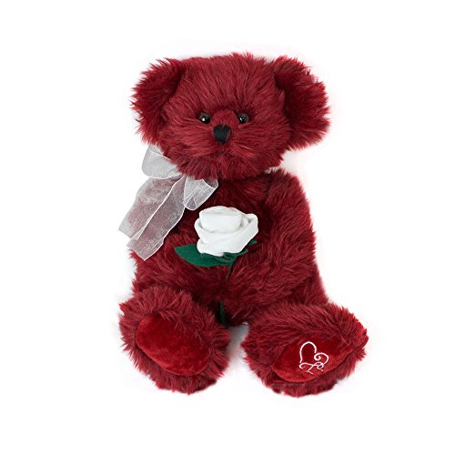 Bernie the Burgundy Merlot Teddy Bear With White Rose by Russ Berrie - Stuffed Animal With Embroidered Heart Paws - 14' Tall