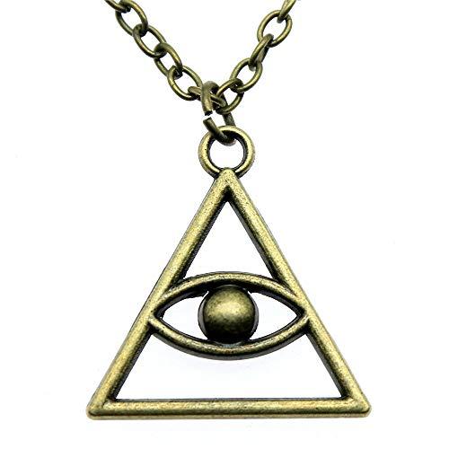 xtszlfj Triangular Eye Pendant Necklace For Women Antique Bronze Color Vintage Necklace...
