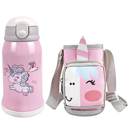 Kinder Trinkflasche Einhorn Mädchen Vakuum Thermosflasch Edelstahl Kinderflasche Mit Stroh Junge Wasserflaschen für Schule Kindergarten, Sport, BPA-Frei, Auslaufsicher, 550 ML
