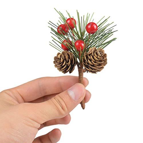 Conos de pino artificiales de 8 cm, ramas de árbol de pino artificial, púas de Navidad con conos de pino, adornos de flores de bayas rojas para decoración de jarrón de Navidad