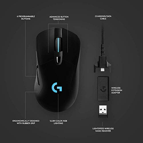 Logitech G703 Lightspeed Wireless Gaming Mouse - Black & G613 Lightspeed Wireless Mechanical Gaming Keyboard, Multihost 2.4 GHz + Blutooth Connectivity - Black