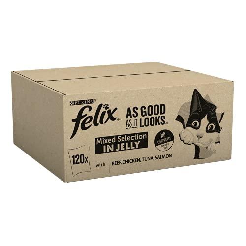 Felix AS Good AS it Looks Misto varietà Cat Food, 100g, Confezione da 120