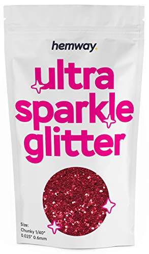 """Hemway Chunky Premium Multi Purpose Glitter 1/40"""" 0.025"""" 0.6mm 625 microns Dust/Powder 100g / 3.5oz for Crafts Cosmetic Wine Glass Face Art Nail Skin Beards Festival (Red)"""