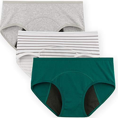 INNERSY Damen Perioden Unterwäsche Baumwolle Teen Mädchen Menstruation Slip Mehrpack 3 (L-EU 42, Smaragd/Grau/Streifen)