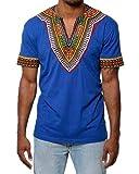 Camiseta Manga Corta Estampada Tribal Africana Tradicional del Modelo para Los Hombres Azul XL